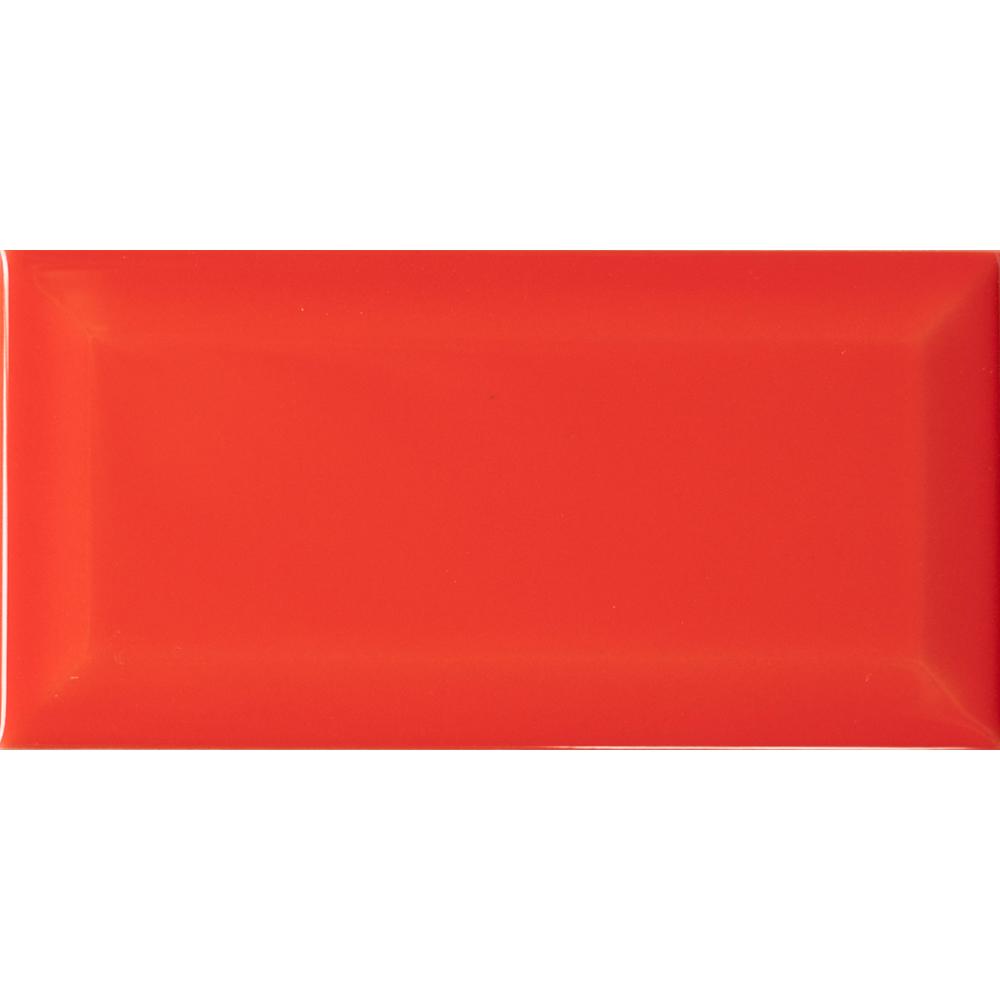 Metro AT Biselado Rojo Brillo 7.5x15 - Metro
